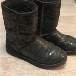 UGG Short Black Sparkle Boots